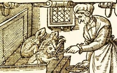A woman feeding imps