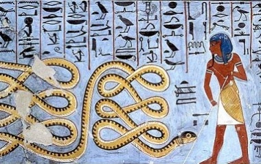Apep being warded off by a deity