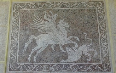 Bellerophon killing Chimaera mosaic