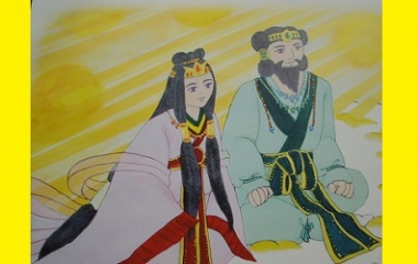 Drawing of Izanagi and Izanami