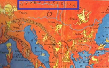 Hyperborea in shown as Arctic continent