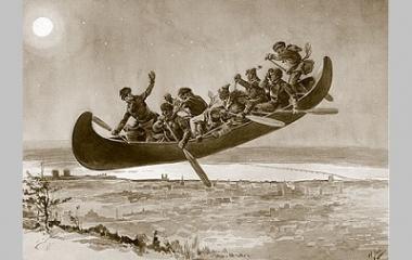 Huntsmen in a boat