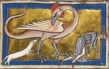 Medieval miniatures of basilisk