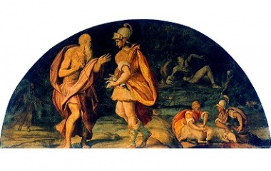 Odysseus questions the seer Tiresias