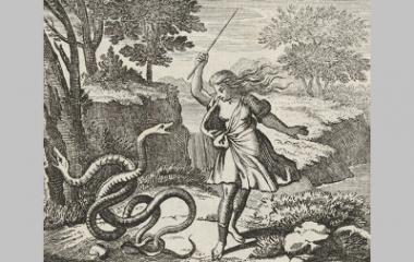 Tiresias striking the snakes