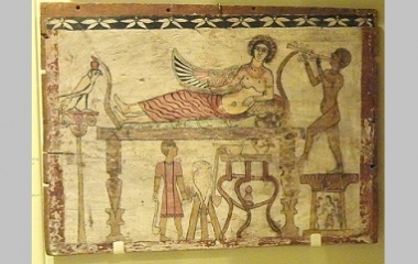 Coffin floorboard depicting Isis being served wine