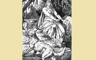 Goddess Hel and the hellhound Garmr