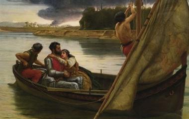 King Arthur and Morgan Le Fay to the Isle of Avalon