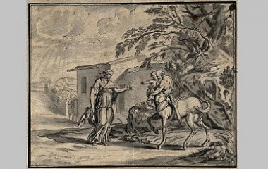 A centaur carrying a young child