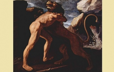 Hercules fighting with Nemean lion