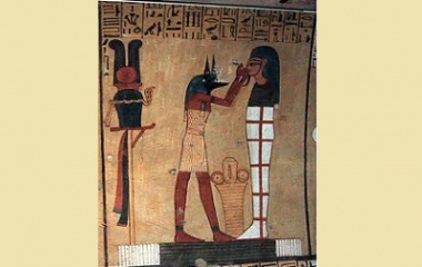 Anubis with a mummy