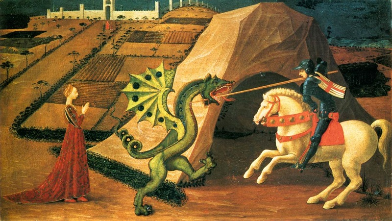 Saint George slaying the dragon, 1458