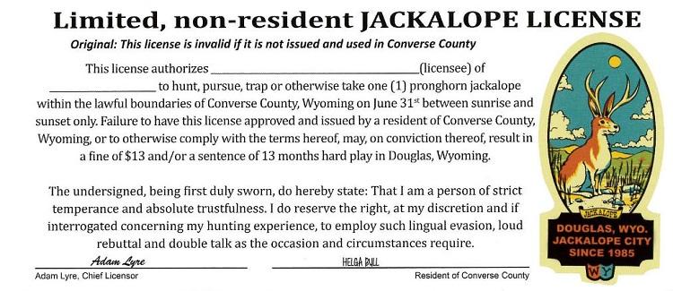 Jackalope Hunting License