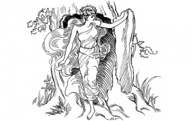 Line art drawing of Dryad