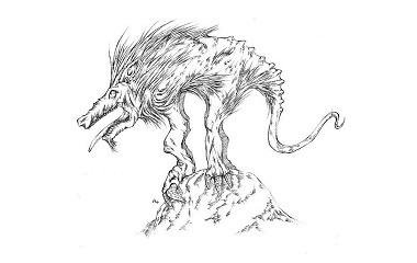 Greyscale drawing of Chupacabra