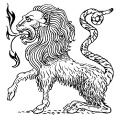 Line art drawing of a chimera