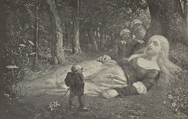Sleeping girl found by gnomes, 1888
