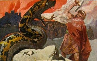 Final battle between Thor and Jörmungandr