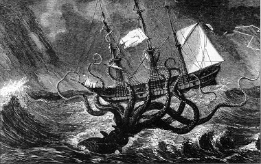 Kraken seizing a ship