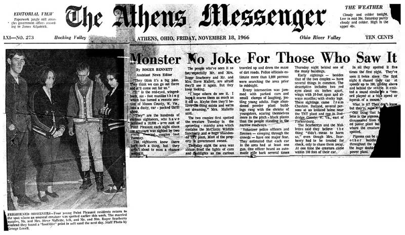 Mothman Sightings Newspaper Clipping