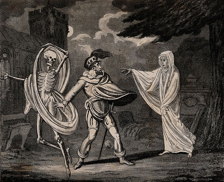A man in armour is confronted by a ghost and a skeleton