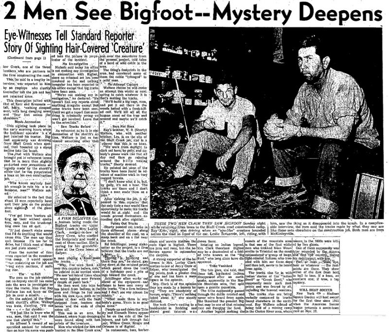 Bigfoot reported, 1958